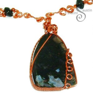 Moss Agate & Copper Wire Wrapped Pendant