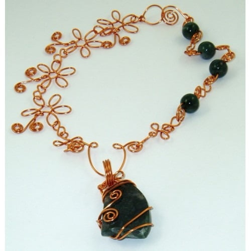 Wire Wrapped Pendant: Moss Agate Necklace