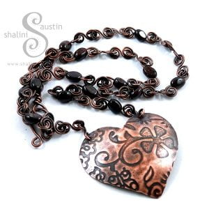 One off Garnet & Copper Heart Pendant