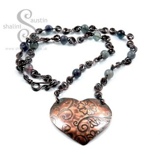 One-off Fluorite & Copper Heart Pendant