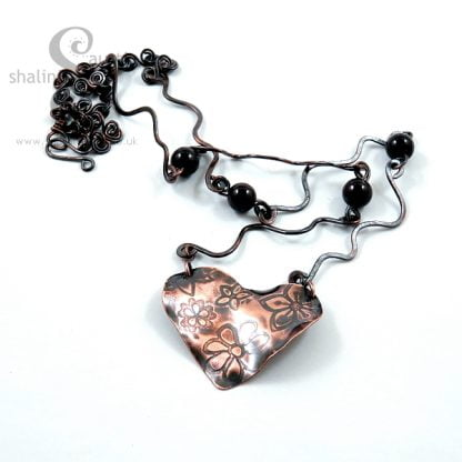 Copper Heart on Garnet Necklace