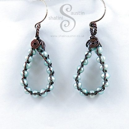 Wire Weave Freshwater Pearls Earrings - Aqua