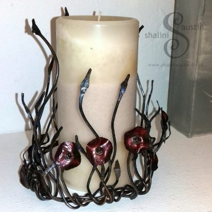 Copper Sculpture POPPIES to go around a Candle