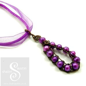 Wire Weave Pearl Pendant PURPLE