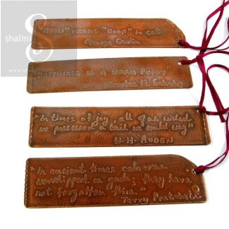 Hand-written, Etched Copper Bookmarks with Quotations