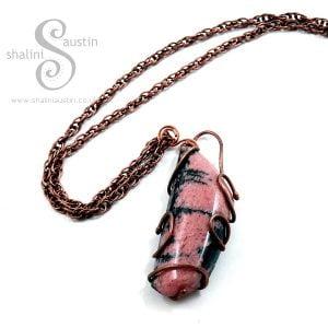 Rock Pendant – Rhodonite Set in Copper