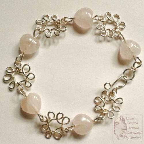 Rose Quartz Bracelet: Hearts & Flowers