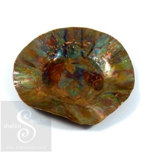 Small Copper Trinket Tray - 9 cm Round Dish