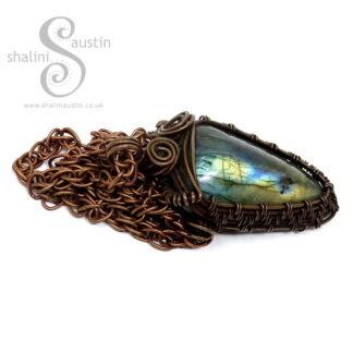 Labradorite & Copper Wire Weave Pendant