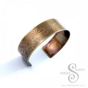 Embossed Brass Cuff: Floral Pattern 1