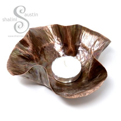 Hand Forged Flame Painted Copper Bowl RUFFLES 2