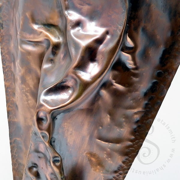 Free Standing Beaten, Air-Chased Copper Sculpture ANGST