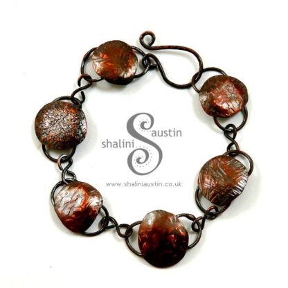 Hammered Textured Round Copper Links Bracelet