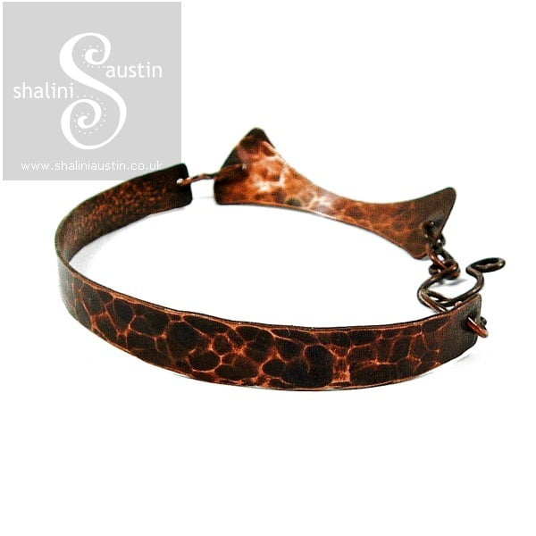 Antique Finish Textured Copper Bracelet