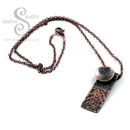 Antique Finish Textured Copper Pendant