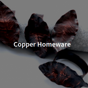 Copper Homeware including napking rings and candlestands by shalini austin