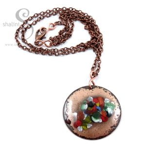 Multicolour Enamelled Copper Disc Pendant TUTTI FRUTTI
