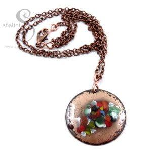 Multicolour Enamelled Copper Disc Pendant TUTTI FRUTTI
