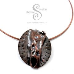 Air-Chased Copper Pendant on Torc Necklace