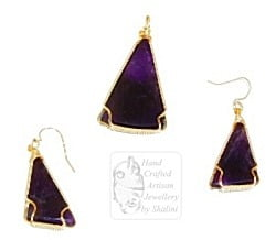 Amethyst Pendant and Earrings Set