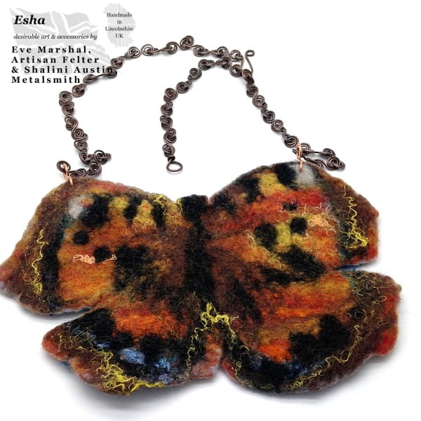 Felt Butterfly on Copper Necklace | Handmade to Order