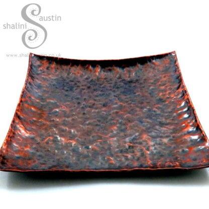 Antique Finish Square Copper Tray (18 cm)