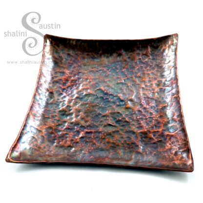 Hammered Copper Tray 18 cm Square - Flame Painted