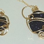 Blue Goldstone & Gold Fill Wire Pendants