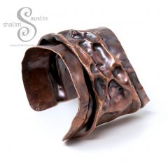 Upcycled Air-chased Copper Cuff LUNAR (08)