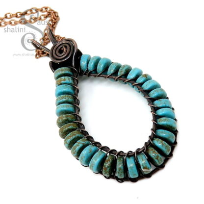 Handmade to Order - Turquoise Wire Weave Pendant
