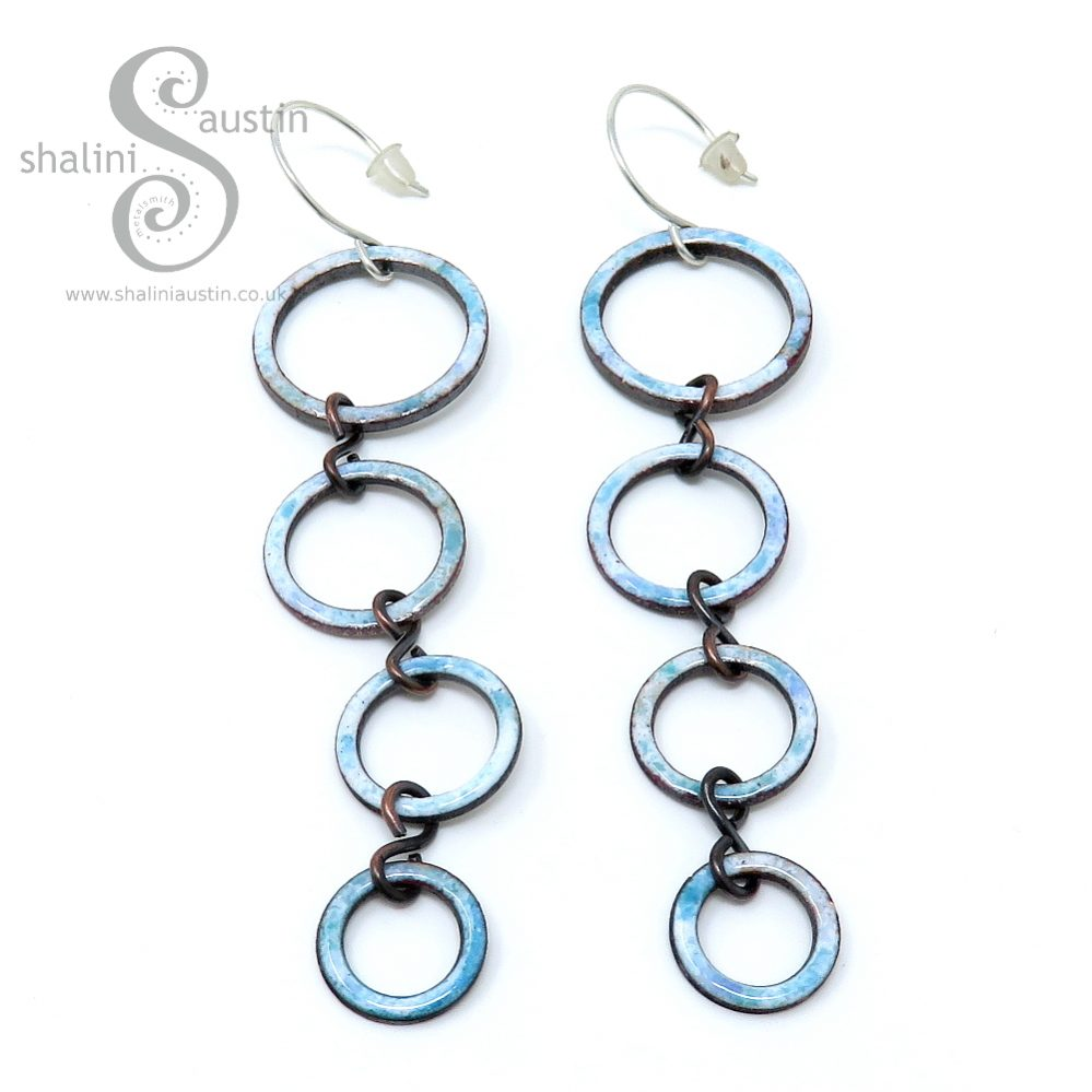 Enamelled Copper Circle Earrings - White & Turquoise