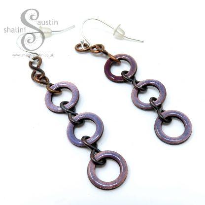 Mauve Enamelled Copper Earrings