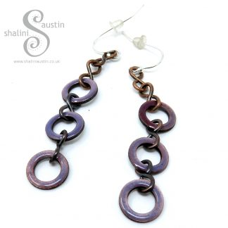 Mauve Enamelled Copper Earrings