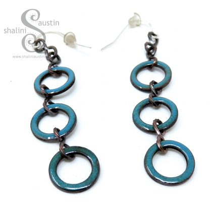 Enamelled Copper Circle Earrings - Teal