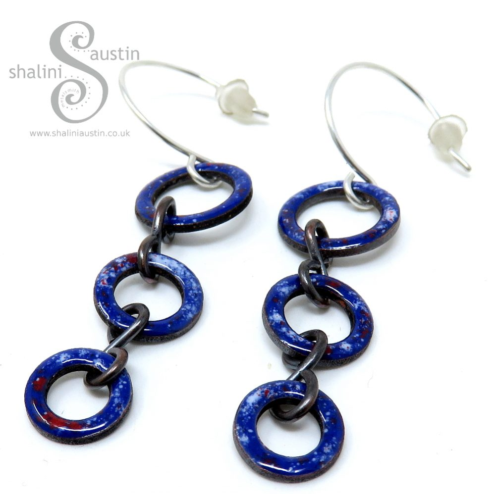 Enamelled Copper Circle Earrings - Royal Blue