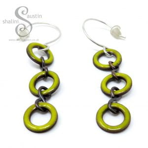 Enamelled Copper Circle Earrings - Yellow