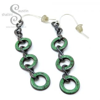 Grass Green Enamelled Copper Earrings