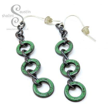 Grass Green Enamelled Copper Earrings