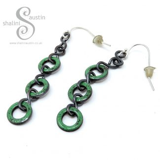 Spring Green Enamelled Copper Earrings