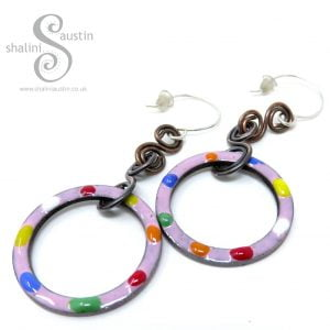 Colourful Tutti-Frutti Enamelled Copper Earrings with Sterling Silver Ear-wires