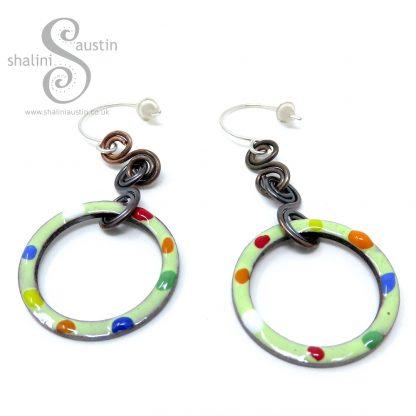 TUTTI FRUTTI Enamelled Copper Circle Earrings - Spring Green