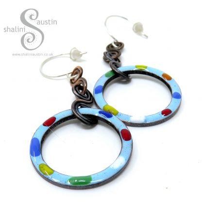 Sky Blue Green Tutti-Frutti Enamelled Copper Earrings