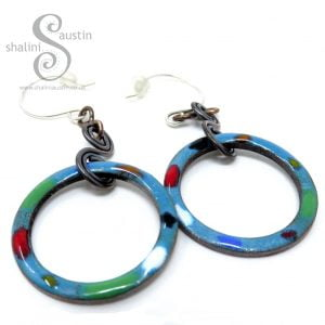 Teal Tutti-Frutti Enamelled Copper Earrings
