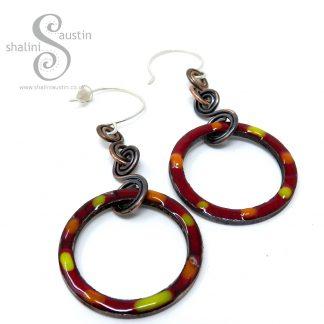 Maroon Tutti-Frutti Enamelled Copper Earrings