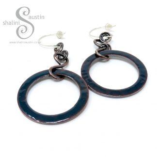 Enamelled Copper Circle Earrings Blue Green
