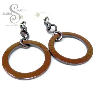 Mustard Enamelled Copper Circle Earrings