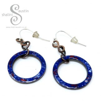 Copper Circle Earrings Enamelled Royal Blue
