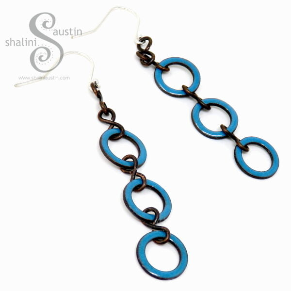 Teal Enamelled Copper Circle Earrings
