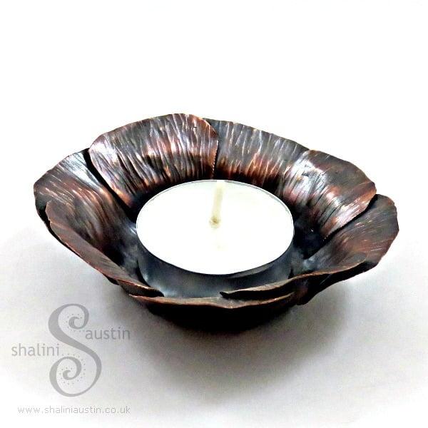 Copper Tealight Holder - Flower Design