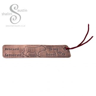 RESCUED IS MY FAVOURITE BREED Copper Bookmark - Dog 6